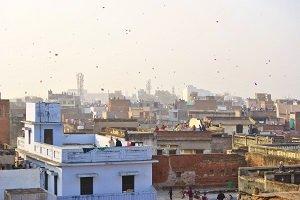 Makar Sanktanti, un halo de cometas sobre el cielo de India