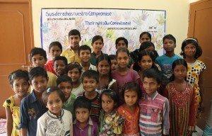 Niños y niñas beneficiarios del programa Educativo, en Sigra.