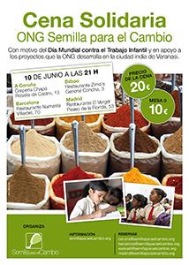 Semilla organiza cenas solidarias en Madrid, Barcelona, Bilbao y A Coruña por el Día Mundial contra el Trabajo Infantil