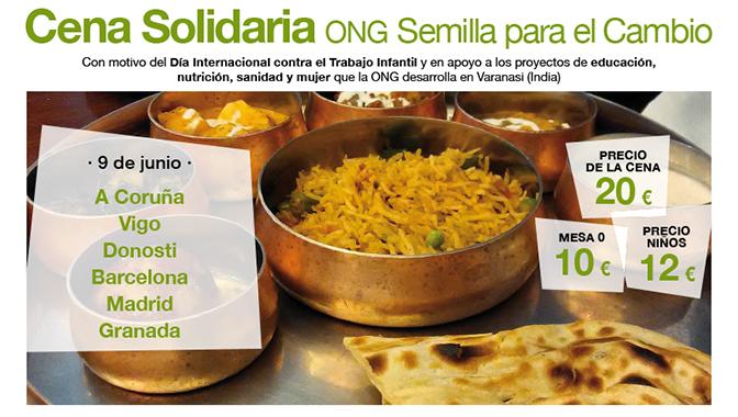 Cenas solidarias contra el trabajo infantil en Madrid, Barcelona, Vigo, Donosti, A Coruña y Granada