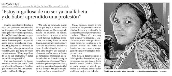 «Estoy muy orgullosa de no ser analfabeta y haber aprendido una profesión»