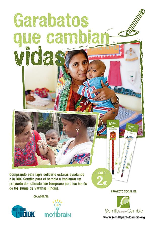 Cartel de la acción solidaria Garabatos que cambian vidas - Semilla para el Cambio